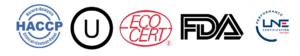 logo des certifications : haccp, union orthodoxe, Eco Cert, FDA, LNE